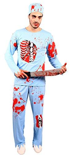 3-tlg. Kostüm blutiger Horror Zombie Doktor Chirurg Arzt Halloween Herrenkostüm Größe 52/54 (Halloween Arzt Kostüme)