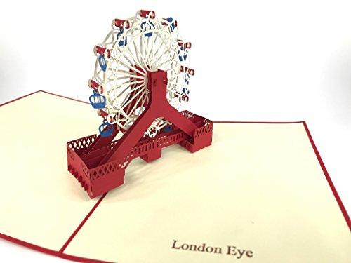 London Eye Riesenrad 3D Pop-up-Grußkarten für Jahrestag, Baby-Geburtstag, Ostern, Halloween, Muttertag, Vatertag, Neues Zuhause, Neujahr, Thanksgiving, Valentinstag, Hochzeit, Weihnachten