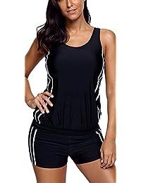 Charmley Tankini Zipped Solid Black with Boyshorts Sleeveless Set Padded Plus Size Slimming Swimming-Costume for Women