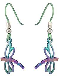 Ti2 Titanium Womens Dragonfly Stem Drop Earrings - Green/Purple/Pink