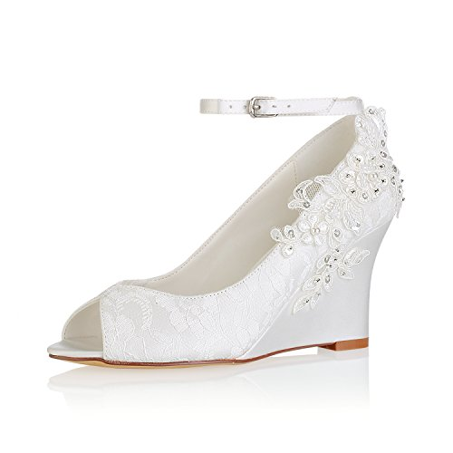 Emily Bridal Zapatos de Novia de Encaje Zapatos de Novia con Detalle de Flores de Marfil...