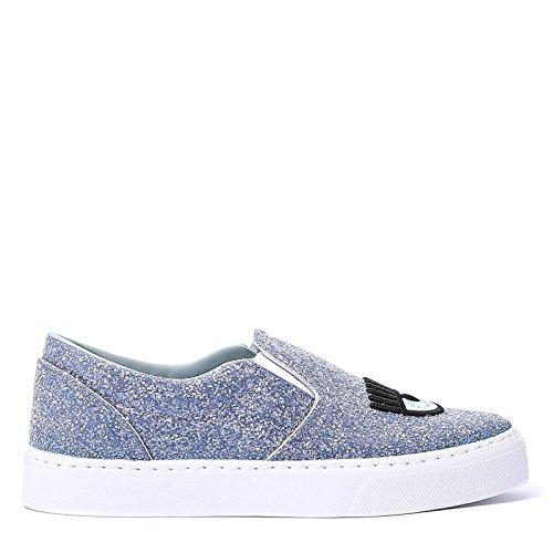 Chiara Ferragni Femme CF1899BLUE Bleu Cuir Chaussures De Skate