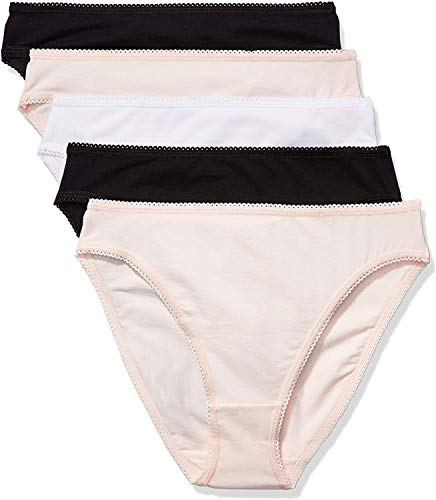 Amazon-Marke: Iris & Lilly Damen Cotton Brief 5er Pack,Mehrfarbig (Soft Pink/Black/White),Medium