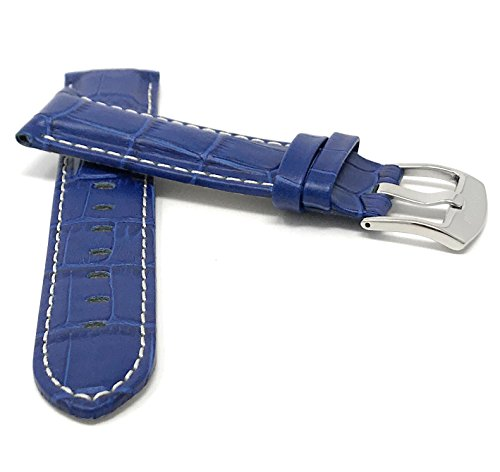 Leder Uhrenarmband 22mm für Herren, Königsblau, mit weißer Naht, Alligatormuster, auch verfügbar in schwarz, braun, rot, hellbraun
