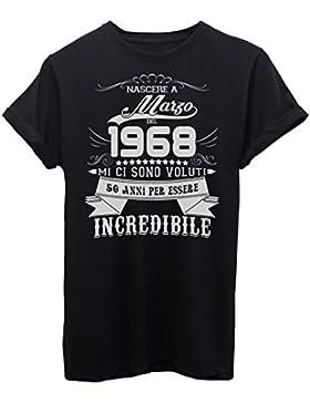 iMage T-Shirt Compleanno Nato A Marzo del 1968-50 Anni per Essere Incredibile - Eventi - Maglietta