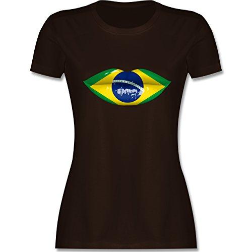 Länder - Lippen Bodypaint Brasilien - tailliertes Premium T-Shirt mit Rundhalsausschnitt für Damen Braun