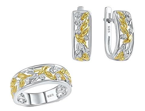 SaySure - Jewelry Set White CZ Diamond Yellow Gold (SIZE : 6)