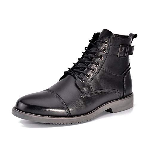 Zapatos De Hombre OtoñO E Invierno Martin Botas Cuero Con Cordones Botas Metal Zapatos Hebilla Zapatos Botas Al Aire Libre,Black-41