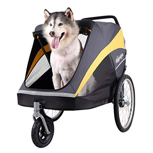 Cochecito para Mascotas de Lujo, Carro de Paseo, Perro Grande Carga de 50 kg Incluye Funda para Clima, Fácil Pliegue de una Mano, Neumáticos de Aire, Portavasos + Cesta de Almacenamiento
