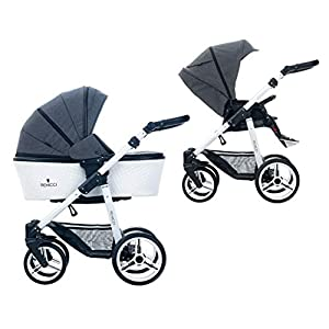 Venicci Pure 2-in-1 Travel System - Denim Black - with Carrycot + Changing Bag + Apron + Raincover + Mosquito Net + 5-Point Harness and UV 50+ Fabric + Cup Holder   15