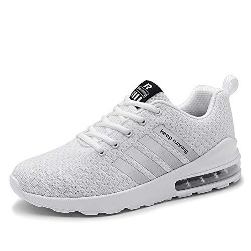 Herren Laufschuhe Fitness straßenlaufschuhe Sneaker Sportschuhe atmungsaktiv Rutschfeste Mode Freizeitschuhe (Weiß,41)