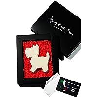 Westie Fatto a Mano in Italia con Frammenti Fossili - Confezione Regalo e Bigliettino Incl - Simbolo d'Amore, Devozione, Amicizia, Fedeltà & Protezione - West Highland Terrier Scottish Scottie Dog