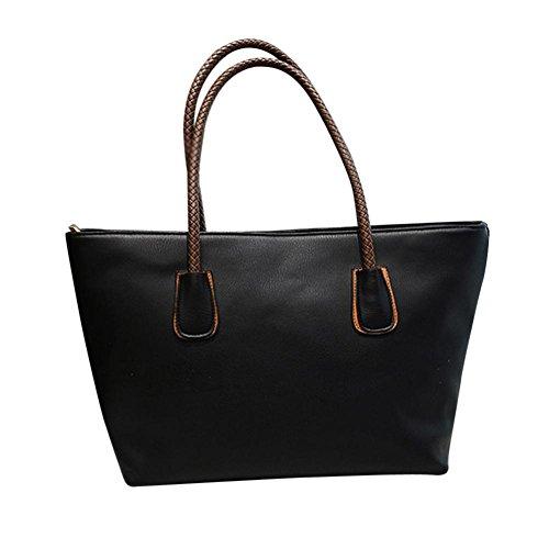 Damen Handtaschen, Huhu833 Frau Mode Taschen Frauen Leder Handtasche Schultertasche Schwarz