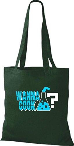 ShirtInStyle Stoffbeutel Baumwolltasche Wanna Cook? Reagenzglas Test Tube Cooking Farbe Gelb gruen