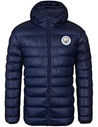 Manchester City FC Official Football Gift Mens Quilted Hooded Winter Jacket