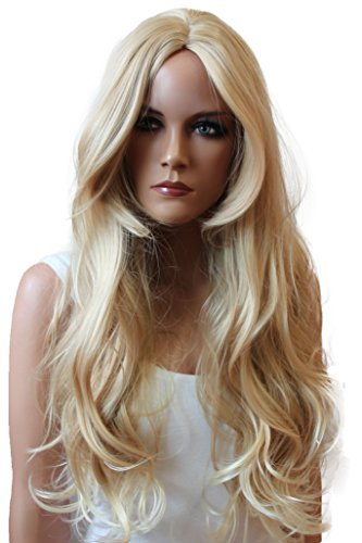 Hitzebeständige Perücke (PRETTYSHOP Perücke Wig Langhaar gewellt Hitzebeständiger Kunstfaser Wie Echthaar Diverse Farben und Stil (mittelscheitel blondmix 27T613 WLR11))
