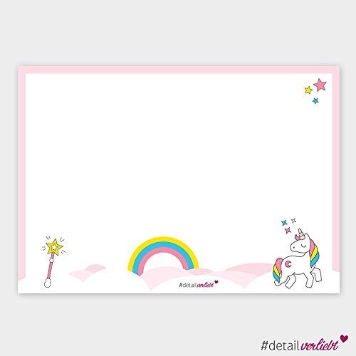 Detailverliebt! DIN A3 Schreibtischunterlage mit süßem Einhorn-Motiv, 40 Blatt, dv_105 – Für alle großen und kleinen Mädchen, die Einhörner lieben! #detailverliebt (Block Top Gedruckt)