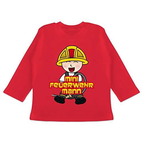 Feuerwehr Baby - Mini Feuerwehrmann - 18/24 Monate - Rot - BZ11 - Baby T-Shirt Langarm
