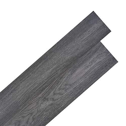 Tidyard Vinyl-PVC Laminat Dielen Selbstklebend, 5,02 m², Rutschfest, Wasserfest, Schwer Entflammbar, Schimmelbeständig, für Küche, Bad, Flur oder Wohnzimmer, 4 Dekors wählbar - Schwarz und Weiß -