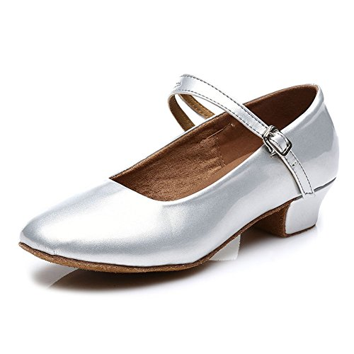 HROYL Mädchen Tanzschuhe/Latin Dance Schuhe Satin Ballsaal Modell-DS-207 Silber