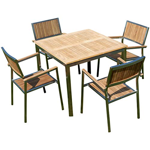 ASS Gartengarnitur Edelstahl Teak Set: Tisch 90x90 cm + 4 Teak Sessel Serie Kuba von -