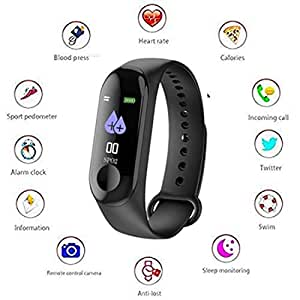 Generic Fitness Tracker Watch M3 OLED Touchscreen with Live Heart Rate Band with Activity Tracker Waterproof Body with Functions Like Steps Counter, Calorie Counter, Heart Rate Monitor