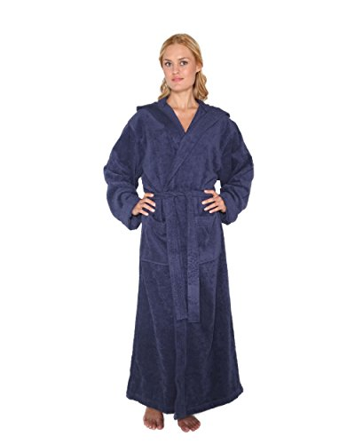 - 41XdDm0At L - Women's Men's Pacific Style Full Length Hooded Turkish Cotton Bathrobe