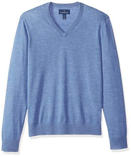Buttoned Down Herren Leichter Cash-Wolle-Pullover aus Italienischer Merinowolle mit V-Ausschnitt, Blau (Light Blue Heather Blu), X-Small - Blue Wolle Pullover Mit V-ausschnitt