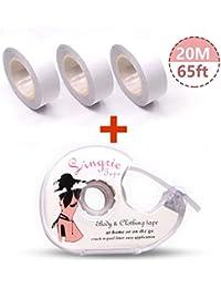 HOMTTEK Doppelseitiges Klebeband für den Körper, Push-up-Tapes Brusttape Klebe-BH Mit zwei rollen Und Abroller(2 rolls)
