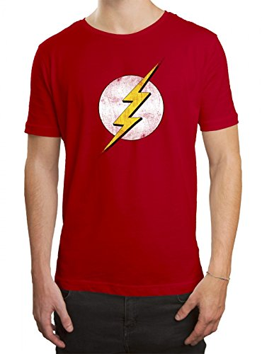 Sheldon Premium T-Shirt Flash The Big Bang Theory Superheld Herren Shirt, Farbe:Rot (Red L190);Größe:M (Schickes Shirt Kostüm)