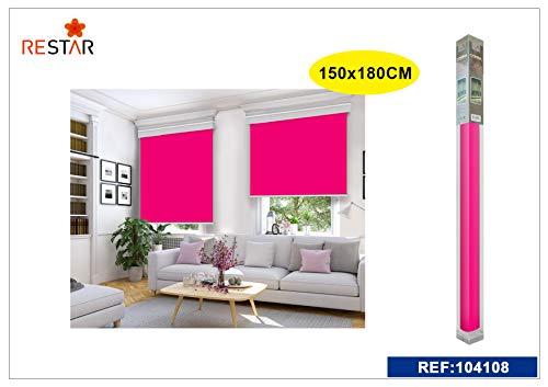 REAL STAR Estor Enrollable translúcido Liso (Rosa, 150x180cm)