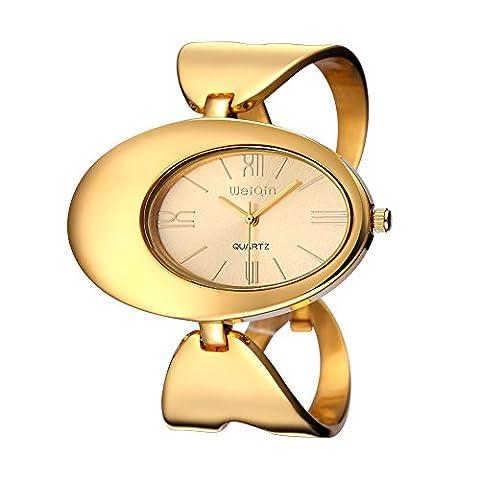 Sheli Master of Bling Montres Oval Dial Or Magic Full Steel Femme Montre bracelet en Mire Watch Reloj Mujer
