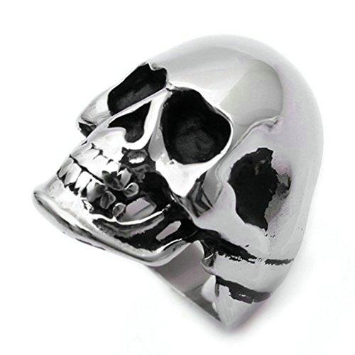 Gnzoe Uomo Acciaio inossidabile Anello Lucidato Annata Uomo Cranio Anello Gotico Punk, Argento, Dimensioni 20