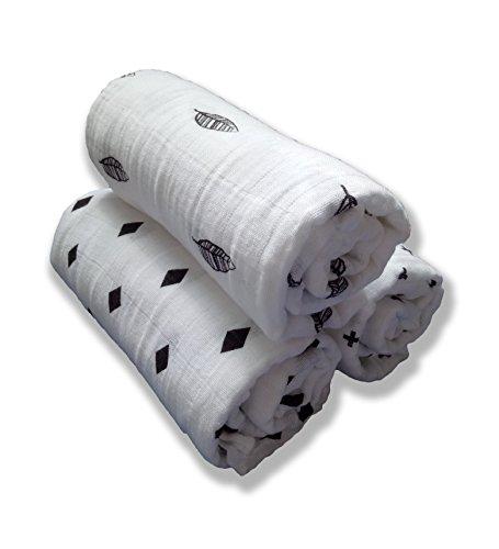 Wild Child Baby Supplies | Pucktücher | Unisex 100% Weiche Baumwolle Swaddle Musselin Decken | 120x120 cm | Pack of 3