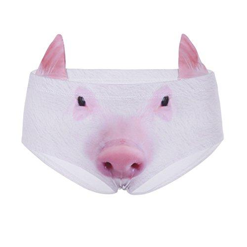 tal Tierdruck Slips mit Ohren Taillenumfang Hipster Unterwäsche Hunden/Katzen Bikinislips Panties Stil F One Size (Katze Kostüme Für Tween Mädchen)