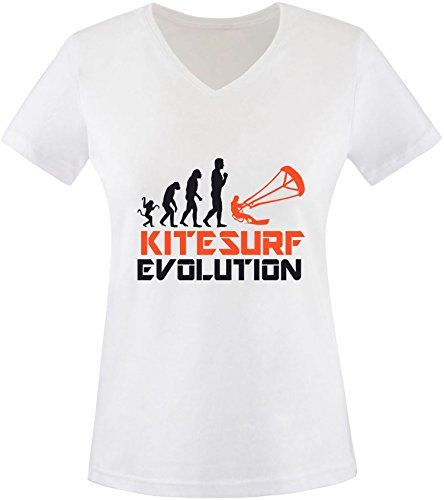 EZYshirt® Kitesurf Evolution Damen V-Neck T-Shirt Weiss/Schwarz/Orange