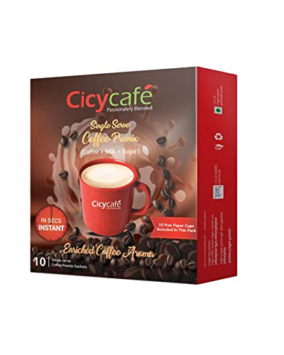 Cicycafe Coffee Premix- 10 Sachets Pack with 10 Free Paper Cups- 150g