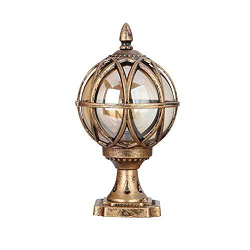 IP44 Sockelleuchte Retro Außen Bronze Farbe Wasserdichte E27 Aluminiumguss Lampe Kugel-Schatten aus Glas Outdoor Rasen Pathway Pfad Flur Hof Außenlampe (H48CM*φ27.5CM) -