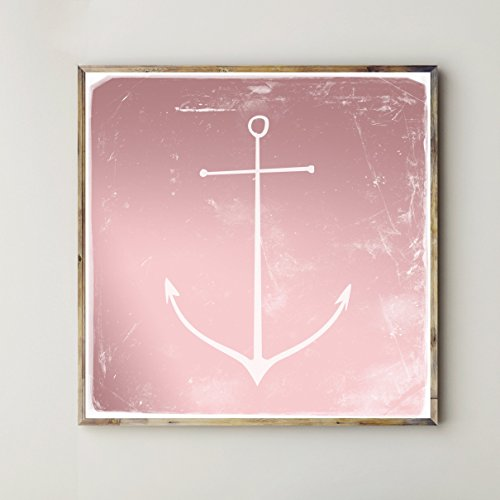 Poster: weißer Anker, rosé sky