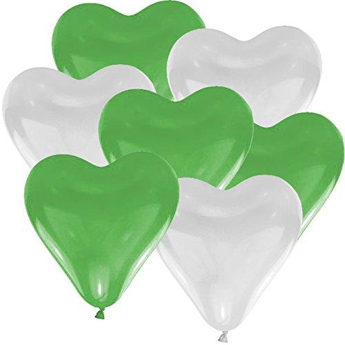 10 Herz Luftballons Ø 30 cm Farbe frei wählbar Herzballons Helium Luftballon (Grün/Weiß) -