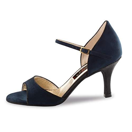 Nueva Epoca Damen Tanzschuhe Nanda - Veloursleder Blau/Ariel Schwarz - 7 cm Stiletto [UK 5] - Ariel Leder