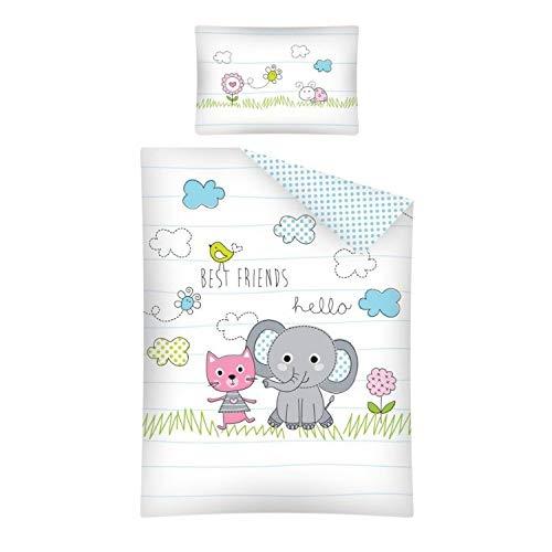 3 tlg. Baby Bettwäsche Set mit Wende Motiv: Elefant und Katze - 100x135 cm + 40x60 cm + 1 Spannbettlaken 70x140 cm (mit Laken: weiß)