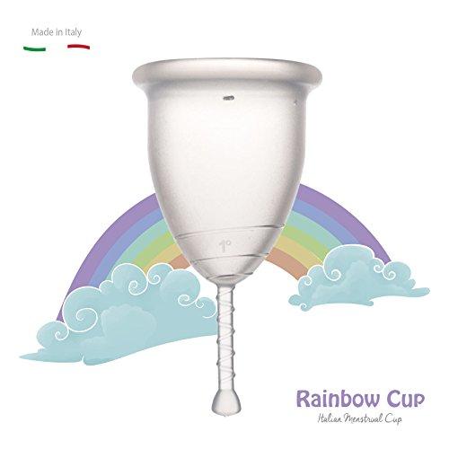 RAINBOWCUP Das Neue und Schöne Menstruationstasse MADE IN ITALY , wählen Sie Größe & Farbe! (Größe 1, No Color)
