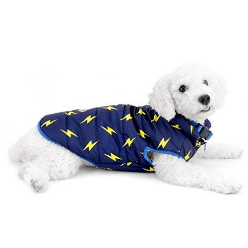 smalllee _ Lucky _ store Lightning Print Gepolsterte kaltem Wetter Weste für kleine Hunde Pet Weste Jacke warm Hund Bekleidung kaltem Wetter Coats Chihuahua Kleidung Mädchen Cowboy-stiefel Unter $20