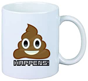 """'Tasse Smiley """"Tas Happens ou Scheiß tas Excrément kacke, SCHEISSE Emoji, Smiley, Trend, culte, mignon, eau douce, Hipster, Cool, Tasse à Café, Tasse à Thé, Pichet, verre"""