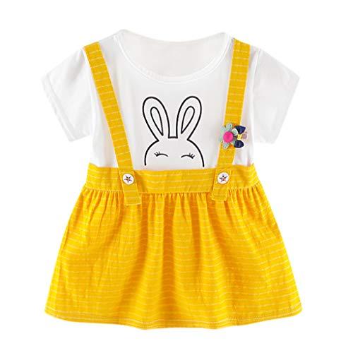 KIMODO Kleinkind Baby Mädchen Kleid Kaninchen Cartoon Gestreifte Drucken Kleid Party Urlaub Sommer Kurzarm Prinzessin Outfit Kleidung