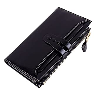 Acmede Women's Genuine Leather Wallets Large Capacity Clutch Purse Luxury Bifold Wallet with Multi Card Holder (Black)