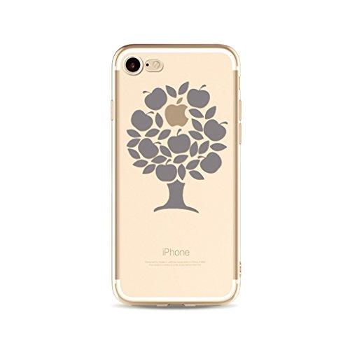 MUTOUREN TPU silicona Caso iPhone SE/5/5S funda de movil Case Cover Caja la caja del teléfono shell Soft iPhone SE/5/5S calidad alta pintado patrón manzana árbol