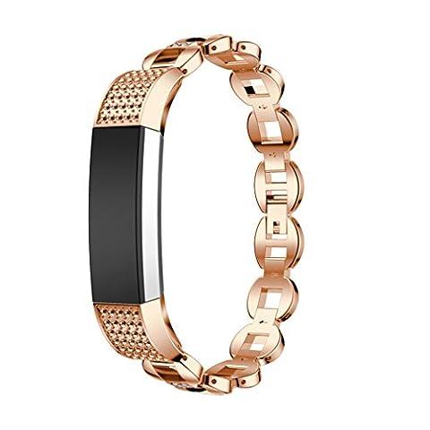 Fitbit Alta Band, 10principales réglable en acier inoxydable Sports Bracelet de montre bracelet Cristal, accessoires de remplacement pour Fitbit Alta/HR tracker de fitness M b
