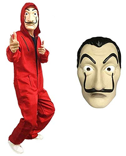 La Casa De Papel Kostüm Halloween Hoodie Overall Overall Rot mit Maske - 80's Kostüm Kunststoff Maske